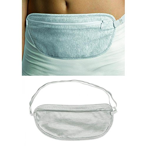 Undercover Nylon Belt - Travelon Ladies Undergarment Waist Pouch Travel Money Belt Fanny Pack Grey New !