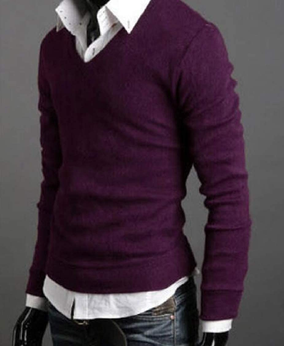 XQS Mens Winter Warm Knitted Solid Color Slim Fit V-Neck Pullover Sweaters