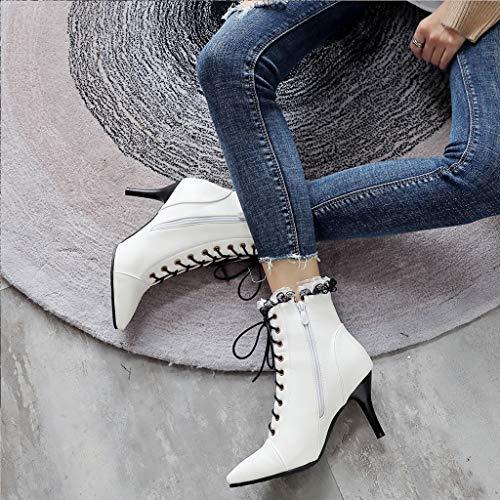 la bottines sauvage Cravate à à grandes mode glissière haut bottes dentelle fermeture Vjgoal femmes avec courtes avec bottineschaussures talon en latérale Stiletto blanc Ivb6Yfg7ym