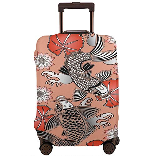 Travel Luggage Cover,Sacred Carp In Traditional Japanese Ink Style With Lilles Classic Artwork Suitcase Protector