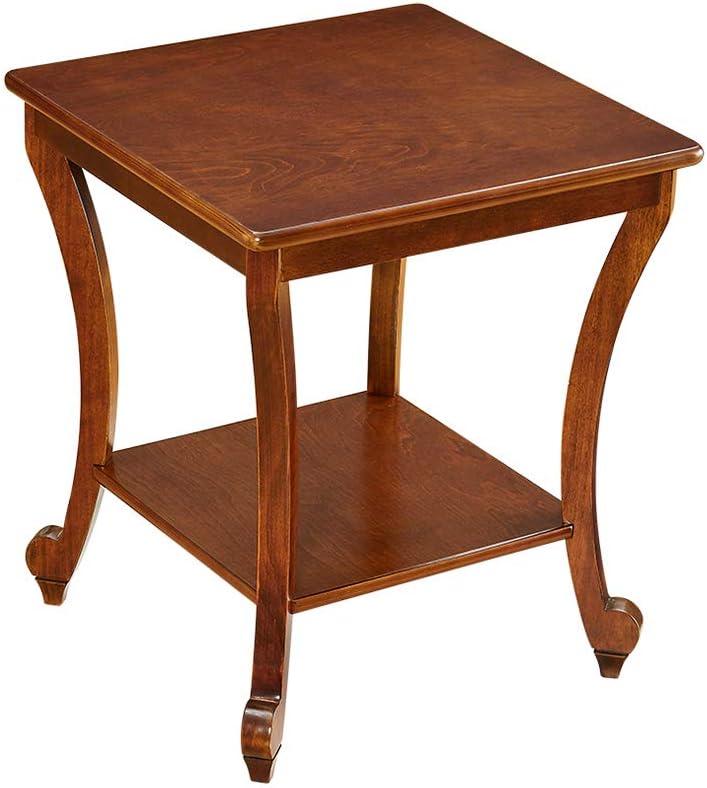 Koop Nieuwste Bseack tabel eenvoudige kleine salontafel, dubbele bodem van massief hout, hoektafel, geschikt voor woonkamer slaapkamer, 2 kleuren bruin YPjBZF4