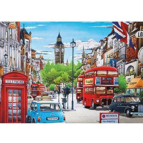 TOPOB DIY 5D Diamond Painting, Big Ben British Street Landscape Rhinestone Cross Stitch Arts Craft Canvas Wall Décor (40X30, A)