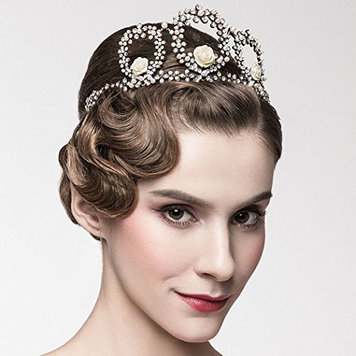 Ring Fashion Rhinestone Flower (Jovono Wedding Crown Earring Set with Rhinestone and flower Bridal Vintage Tiara Crown)