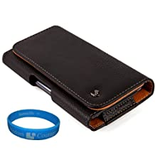 Premium Faux Leather Executive Holster Case (LEA066) for BLU Selfie / BLU Win HD / BLU Vivo IV / BLU Dash 5.0 + SumacLife TM Wristband