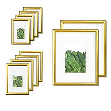 Vista Kayan Gallery Picture Frame 10-Pack Photo Set in Gold, (2) 8x10, (4) 5x7,(4) 4x6, Wide Mats