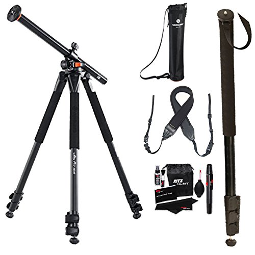 Vanguard Alta Pro 263AT Aluminum Tripod Legs, Ritz Gear Cleaning Kit and Polaroid Neoprene Adjustable Cushioned Neck Strap and 72'' Heavy Duty Monopod by Ritz Camera