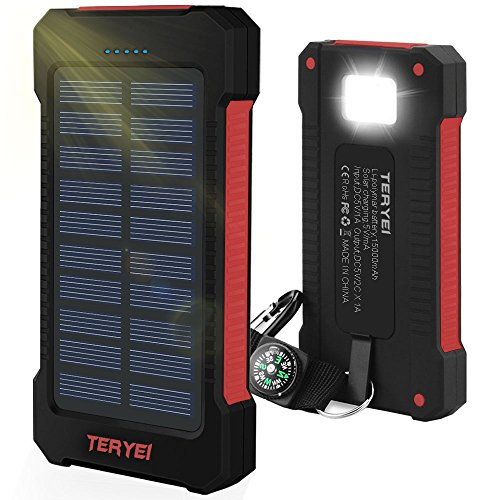 Solar Charger 15000mAh,Teryei Portable Solar Power Bank High Efficiency Solar Phone Charger with Solar Panel, Dual USB Cell Phone Battery Charger for iPhone,Samsung and Emergency Out (Red)