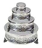 Aluminium Round Wedding Cake Stand Intricately Designed Home Decor, 22 by 18 by 14 by 6-Inch, Set of 4 (Square Set of 4)
