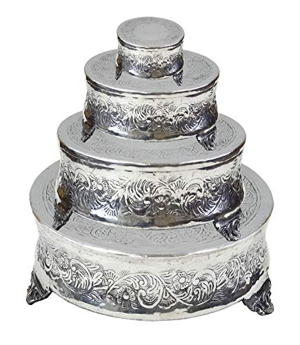 Coastal Space Designs AL 4181-VC Aluminium Round Wedding Cake Stand Intricately Designed Home Decor, 22 by 18 by 14 by 6-Inch, (Square Set of 4), Set of 4, Set of 4