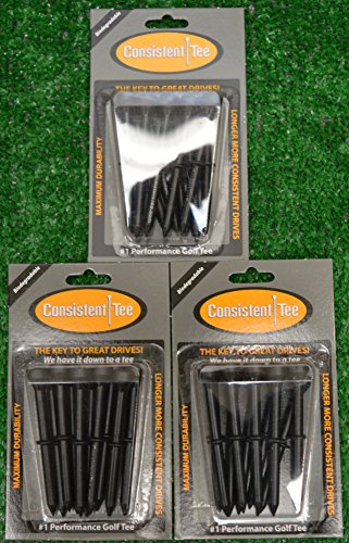 "3 Consistent Tee 3 1/4"" Golf Tee Packs - Black"