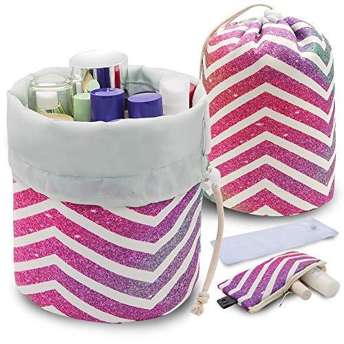 (UYRIE Portable Makeup Toiletry Cosmetic Travel Organizer Bag, Large Drawstring Hanging Packing Bag for Women Girl Men, Lightweight Multifunctional Barrel Shaped Storage Bag (Rainbow Stripes))