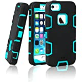 iPhone 5S Case, EC™ 3in1 Shock Absorbing Case, Rubber Combo Hybrid Impact Silicone Armor Hard Case Cover for Apple iPhone 5S (C-Blue/Black)