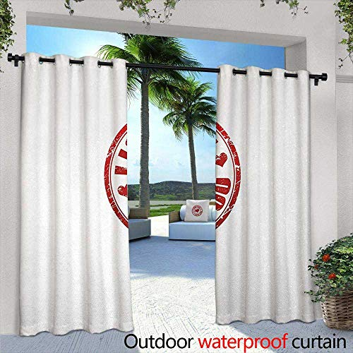 Tim1Beve Sliding Door Curtain Love Grunge Stamp Shape with Heart Inside Declaration of Love Positive Vibes Retro Emblem for Patio/Front Porch 108