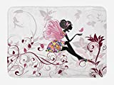 Ambesonne Princess Bath Mat, Flower Fairy with Butterflies Wings Branches Ornaments Floral Spring Forest, Plush Bathroom Decor Mat with Non Slip Backing, 29.5 W X 17.5 W Inches, Maroon Black Pink