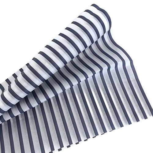 Tissue Designer - Printed Tissue Paper for Gift Wrapping (Classic Nautical Navy Blue Stripe) - Decorative Gift Tissue Paper, 24 Large Sheets (20x30)