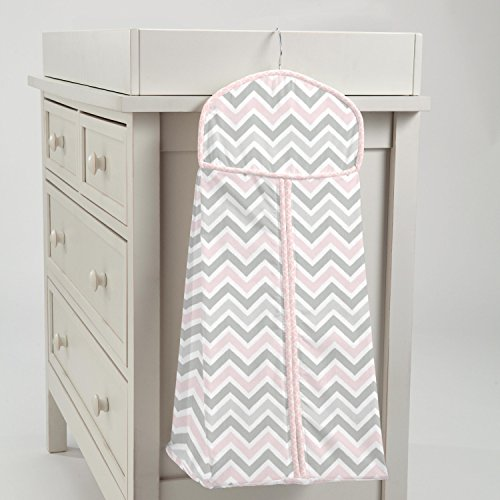 Carousel Designs Pink and Gray Chevron Diaper Stacker by Carousel Designs