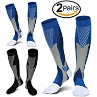 2 Pairs Compression Socks, 20-30 mmhg Medical&Althetic Nursing Running Compression Socks for Men Women Marathon, Maternity Pregnancy,Flight ,Shin Splints, Edema,Varicose Veins(L/XL)