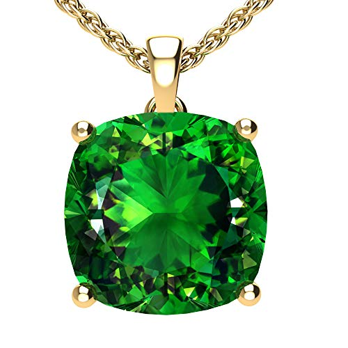 Belinda Jewelz Womens 14k Yellow Gold Cushion Shape Gemstone Rhodium Plated Sparkling Prong Real Sterling Silver Fine Jewelry Classic Hanging Pendant Necklace, 4.5 Ct Created Emerald Green, 18 Inch