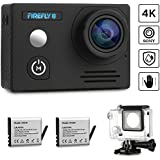 Siroflo FIREFLY8 Action Camera 4K 12MP WiFi Sony Sensor Waterproof Sport Cam 170 Degree Ultra HD Len Support Continuous Shooting with 2 Pcs Batteries and Mounting Accessories Kits - Upgraded Version