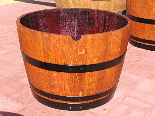 JUNIT 115L Eichenfasshälfte D.72cm,H.45cm Blumenkübel schwarze Ringe Weinfass Pflanfkübel Eichenfass Holzfass Miniteich
