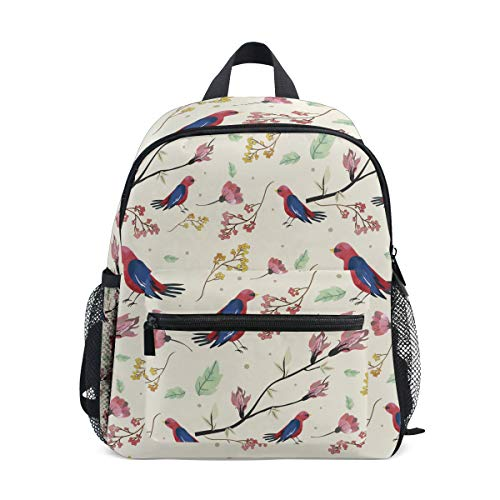 Backpack Bird Pattern Blossoming Flowers Print School Bags Boy Girl Daypack