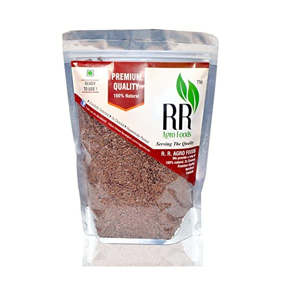 R R AGRO FOODS Organic Ready to Use Flax Seeds Alsi (500 g)