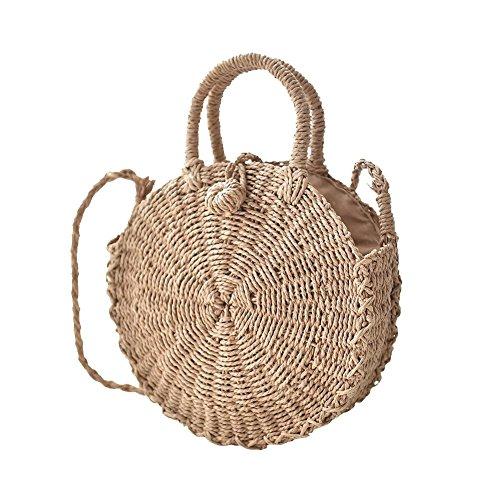 tessuto in borsa a spiaggia rotondo borsa uso da tracolla paglia unica doppio borsa Borsa tracolla di Borsa a tessuto rattan a UIxwWzTWnd