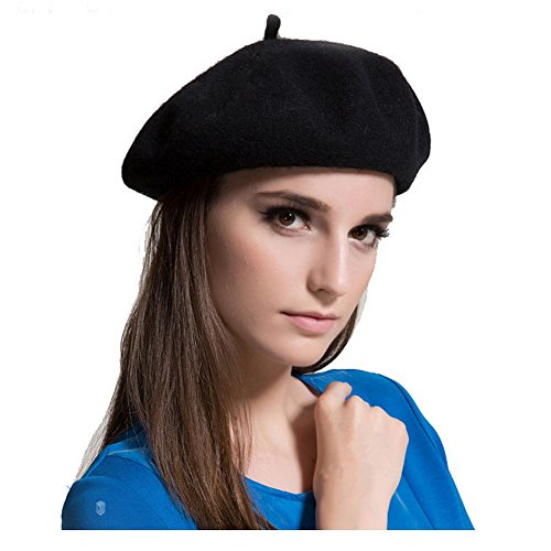 MAYMII Wool Black Beret Hat - French Beret -