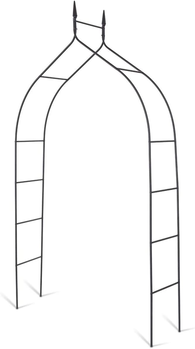 GOFLAME Garden Arch Steel, Rose Arbor for Various Climbing Plant, Outdoor Garden Lawn Backyard, Gothic Style Heavy Duty Wedding Party Ceremony Decoration (Black)