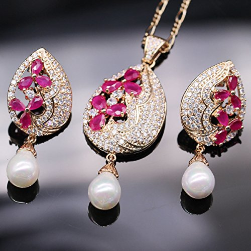 18k Gold Plated Earrings & Pendant Necklace Set Red Ruby & Pearl Wedding Jewelry