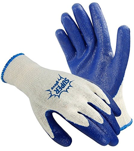 Galeton 6400-S 6400 Super Gloves Rugged Latex Coated Palm Knit Gloves, Small ,Blue/White (Pack of -