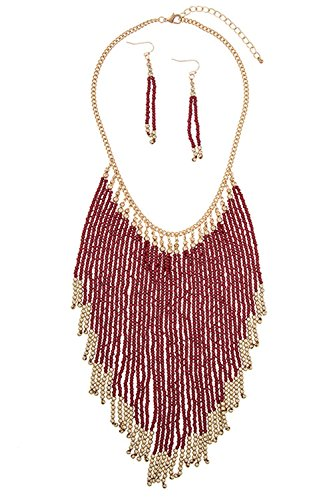 Trendy Fashion Jewelry Long Beaded Fringe Accent Dangle Bib Necklace Set By Fashion Destination | - Fashion Destination