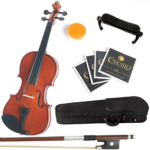 Mendini 4/4 MV200 Solid Wood Natural Varnish Violin with Hard Case, Shoulder Rest, Bow, Rosin and Extra Strings (Full Size)
