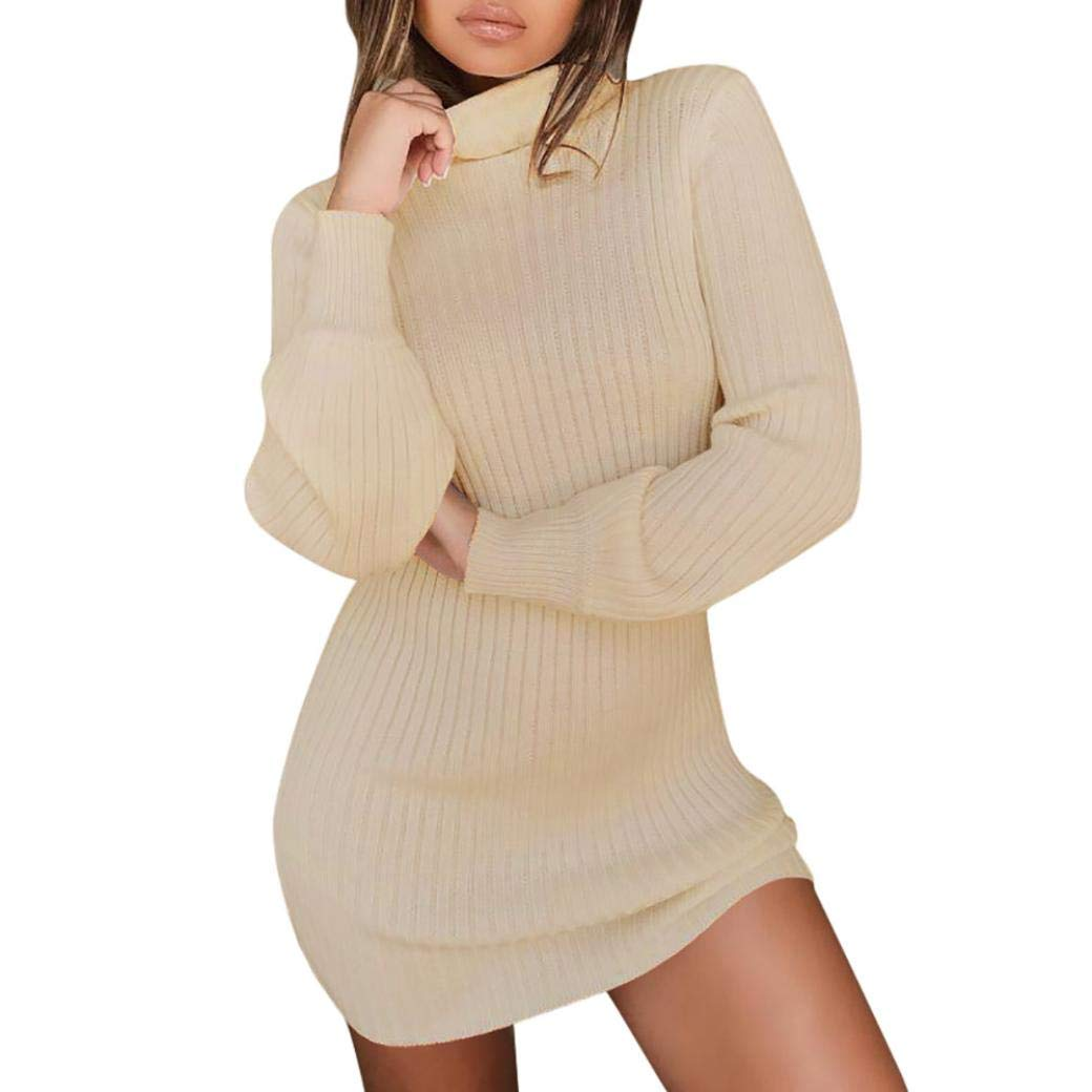 Cloom Blusekleid Damen Stehkragen Strickkleid Pullover Kleider Langarm Jumper Pulli Bluse Frauen Hoodie Sweatshirt Kleid Gerade mit Kapuze Minikleid Shirtkleid Partykleider Knielang