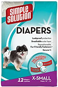 Simple Solution Disposable Dog Diapers, Extra Small, 12 CT