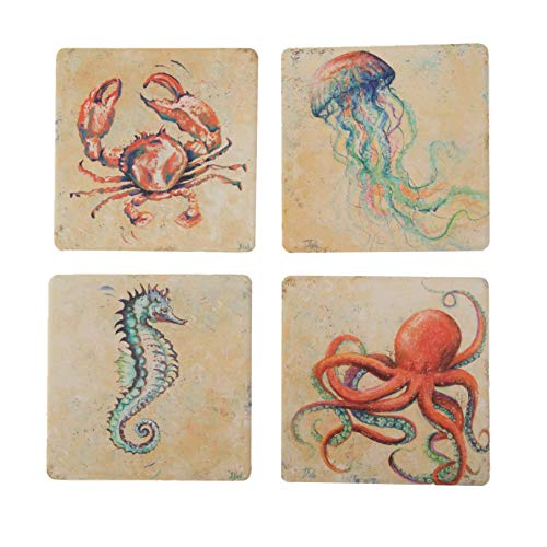 CoasterStone Creatures of The Ocean Absorbent Coasters (Set of 4), 4-1/4