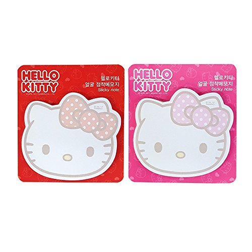 Sanrio Hello Kitty Big Face Sticky Note Memo Pad Post It 2pc : Red and Pink