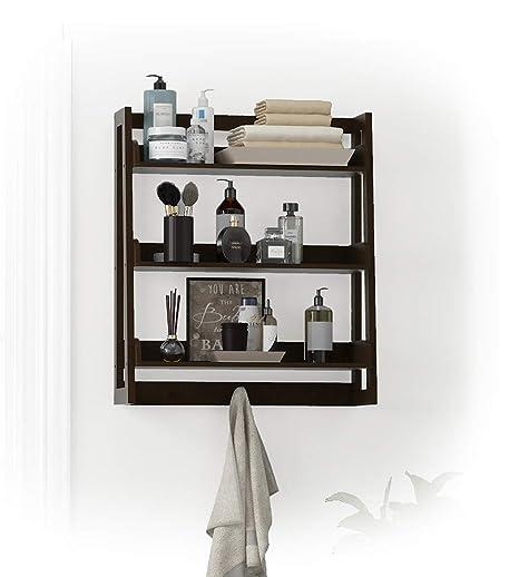 Amazon.com: UTEX 3 Tier Bathroom Shelf Wall Mounted with Towel Hooks ...