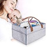 Baby Diaper Caddy - Baby Shower Gift Basket for Boys Girls - Large & Sturdy Nursery Bin, Newborn Car Travel Basket