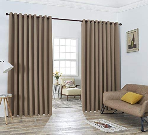 ASATEX Pair of 2 XXL Wall to Wall Taupe Brown Beige Blackout Curtains Panels. Each of Room Divider Drapes is 108 x 108 . Total Width 18 Feet. Includes 2 Free Tiebacks. LAN 108 x 108 Taupe