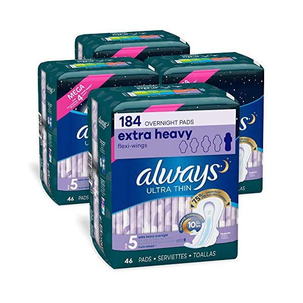 Always Ultra Thin Feminine Pads for Women, Size 5, Extra Heavy, Overnight Absorbency, with Flexi-Wings, Unscented, 46…