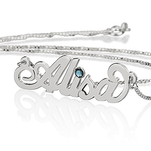 (Sterling Silver Personalized Name Necklace with simulated Birthstone - Custom Made Any Name)