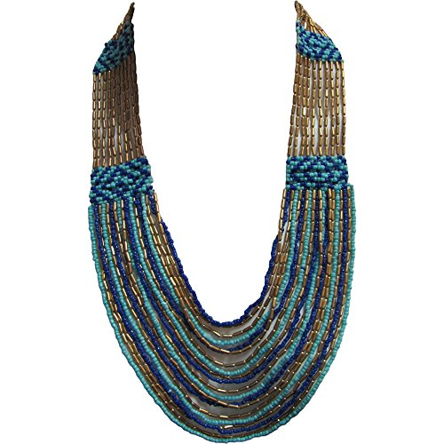 [Bohemian Gypsy Vintage Handmade Blue & Gold Multistrand Layered Bead Long Fashion Necklace] (1940s Dance Costumes)
