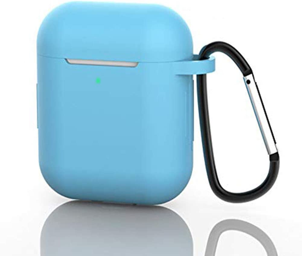 AirPods Case, Silicone Protective Cover Compatible with Apple AirPods 1/2 Shock Resistant AirPods Cover with Carabiner Anti-Lost Strap Anti-Dust Plug Front LED Indicator Visible(Light Blue)