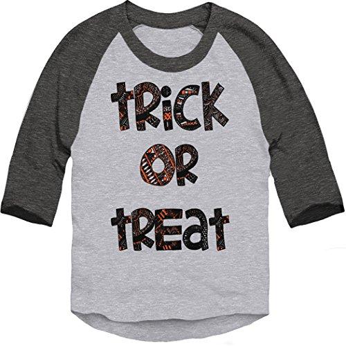 Trunk Candy Toddler Halloween Trick or Treat Costume 3/4 Sleeve Baseball T-Shirt (Heather/Smoke, 3T) -