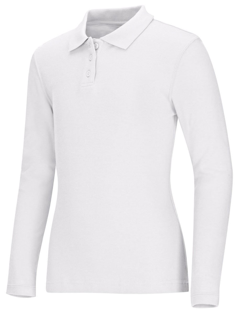 Classroom Uniforms Junior's Long Sleeve Fitted Interlock Polo, Sos White, M