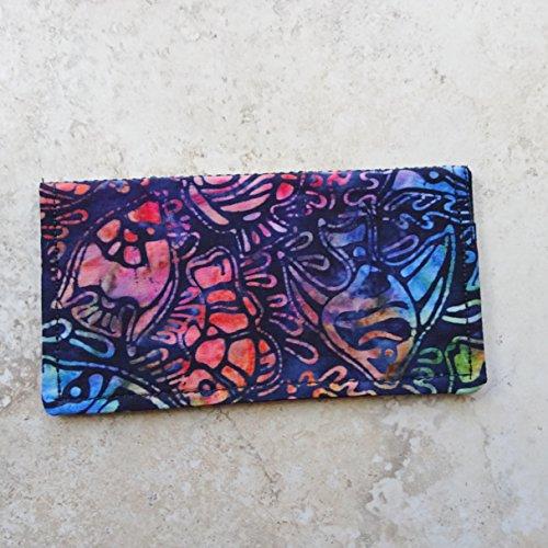 Checkbook Cover-Billfold Wallet-Batik Fish Pattern Fabric Checkbook Wallet
