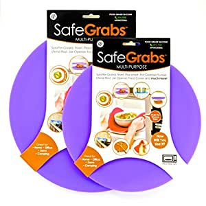 Safe Grabs 2-Piece 8-in-1 Multipurpose Silicone Microwave 10-inch and 12-inch Splatter Guard Set, Purple
