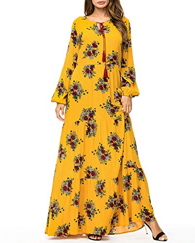 Carriemeow Women's Floral Printed Round Neck Puff-Sleeve Maxi Swing Dress (Color : Yellow, Size : 3XL)
