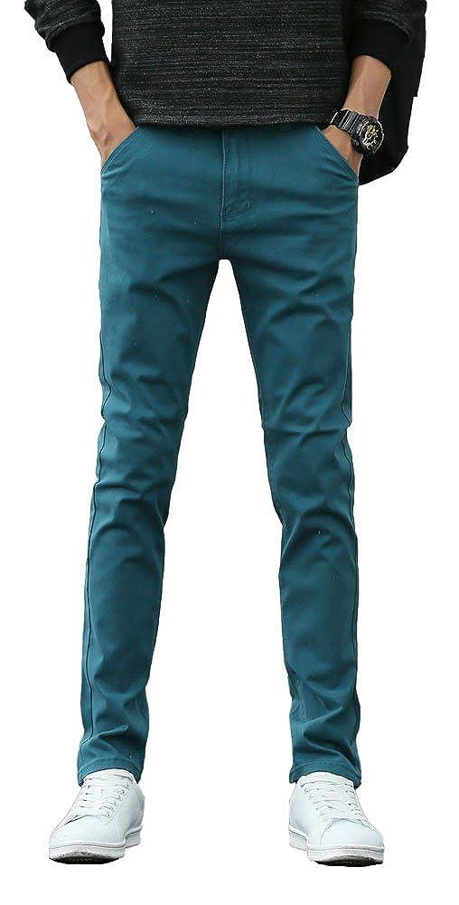 Plaid& Plain Men's Skinny Stretchy Khaki Pants Colored Pants Slim Fit Slacks Tapered Trousers 01-PANTS-M1504